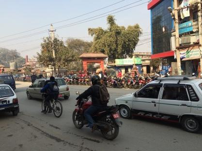A bit of a line up for petrol in Kathmandu