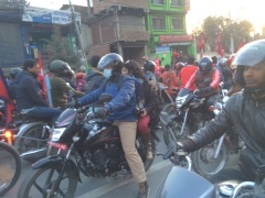These Nepalese bikers all came out to welcome their football team from beating India.